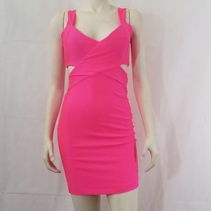 Hot pink stretchy unique dress